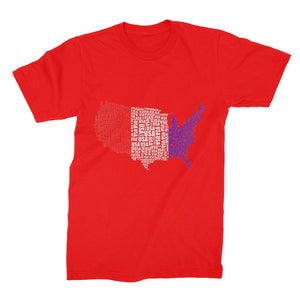 Usa Text Continent Flag Unisex Fine Jersey T-Shirt Apparel Flagdesignproducts.com