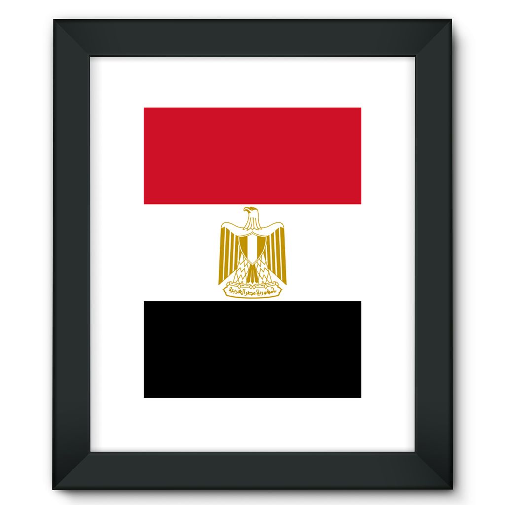 Basic Egypt Flag Framed Fine Art Print Wall Decor Flagdesignproducts.com