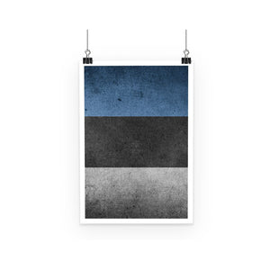 Grunge Estonia Flag Poster Wall Decor Flagdesignproducts.com