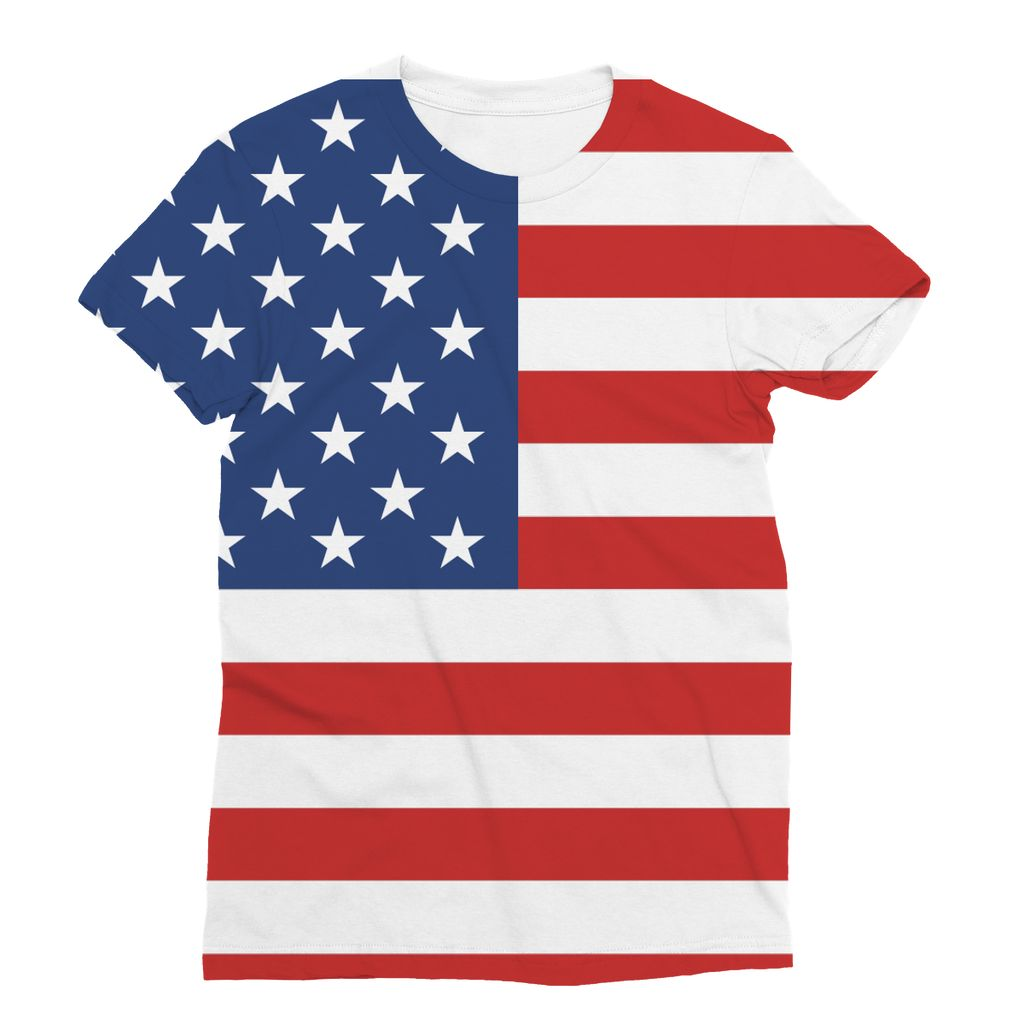 Basic America Flag Sublimation T-Shirt Apparel Flagdesignproducts.com