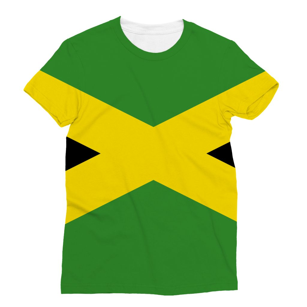 National Flag Of Jamaica Sublimation T-Shirt Apparel Flagdesignproducts.com