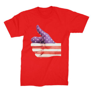 Usa Hand And Finger Flag Unisex Fine Jersey T-Shirt Apparel Flagdesignproducts.com