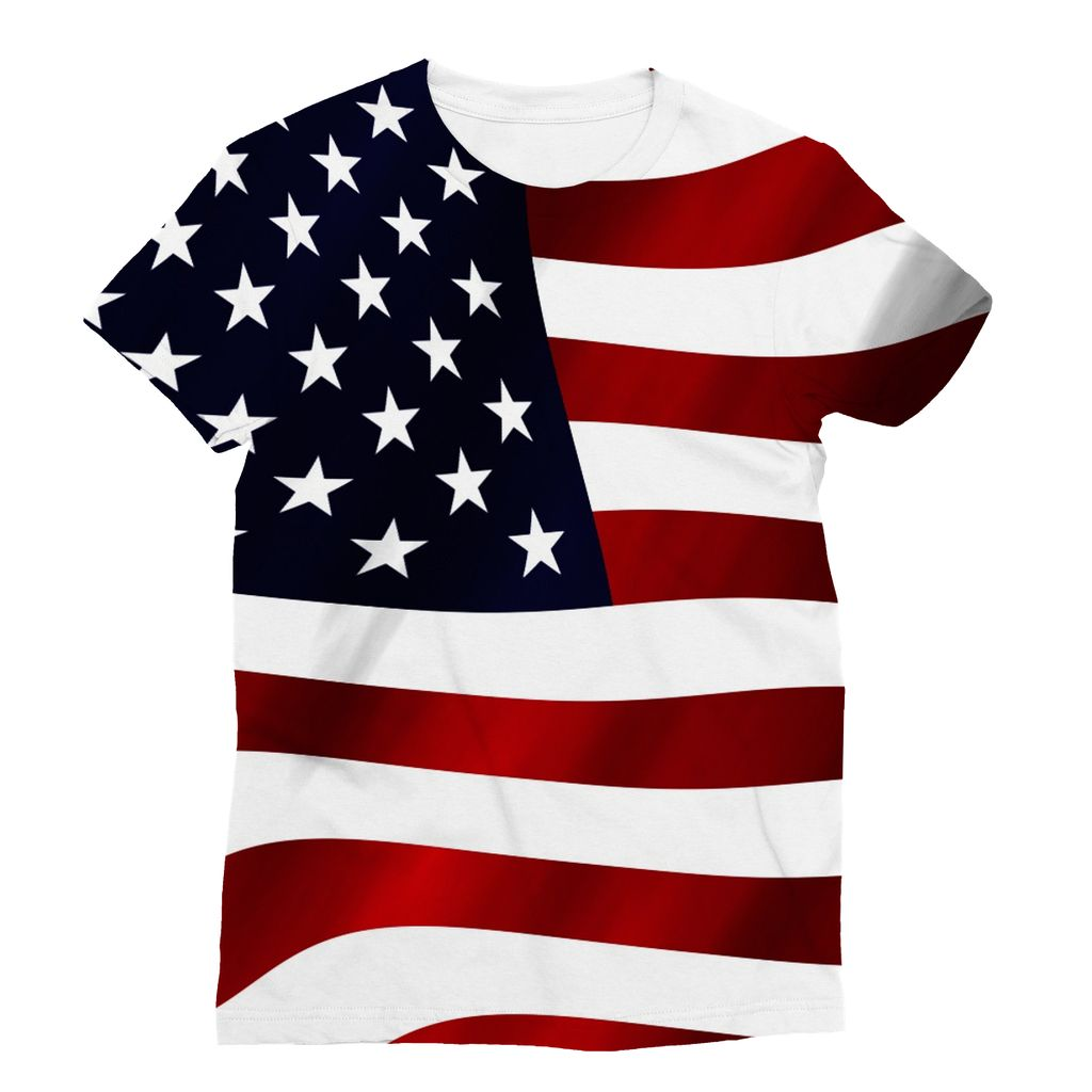 Waving Usa America Flag Sublimation T-Shirt Apparel Flagdesignproducts.com