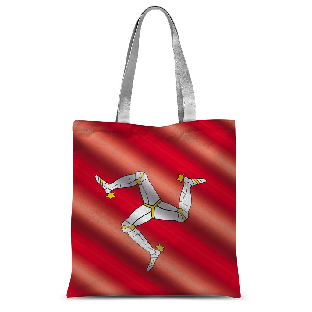 Waving Isle Of Man Flag Sublimation Tote Bag Accessories Flagdesignproducts.com