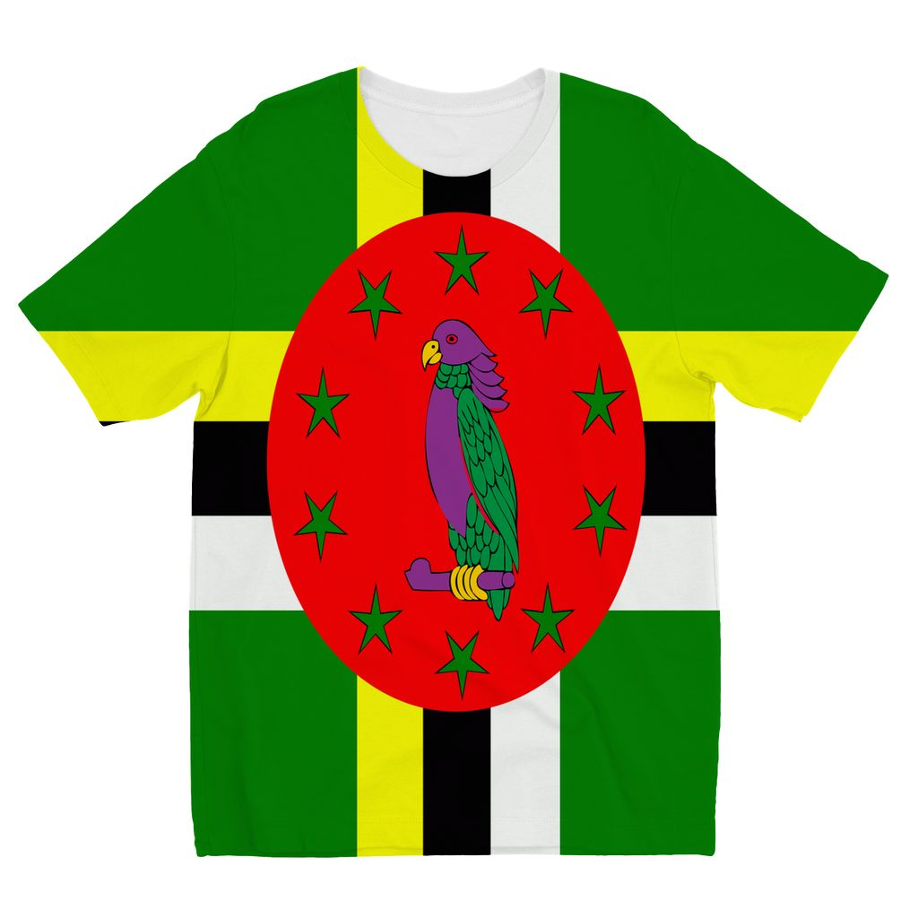 Flag Of Dominica Kids Sublimation T-Shirt Apparel Flagdesignproducts.com