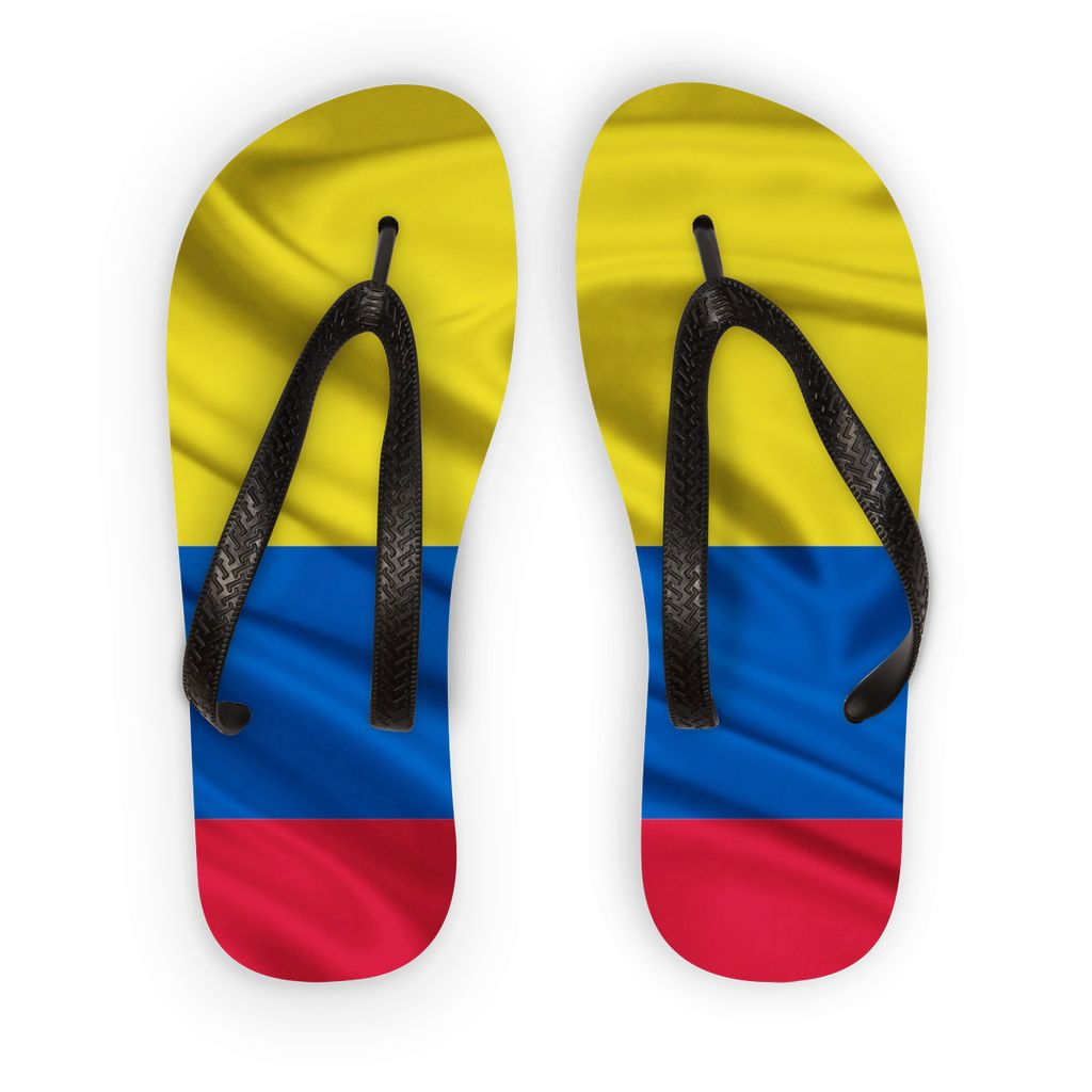 Waving Colombia Fabric Flag Flip Flops Accessories Flagdesignproducts.com