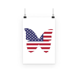 Usa Flag Butterfly Poster Wall Decor Flagdesignproducts.com