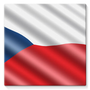 Czech Republic Waving Flag Stretched Canvas Wall Decor Flagdesignproducts.com