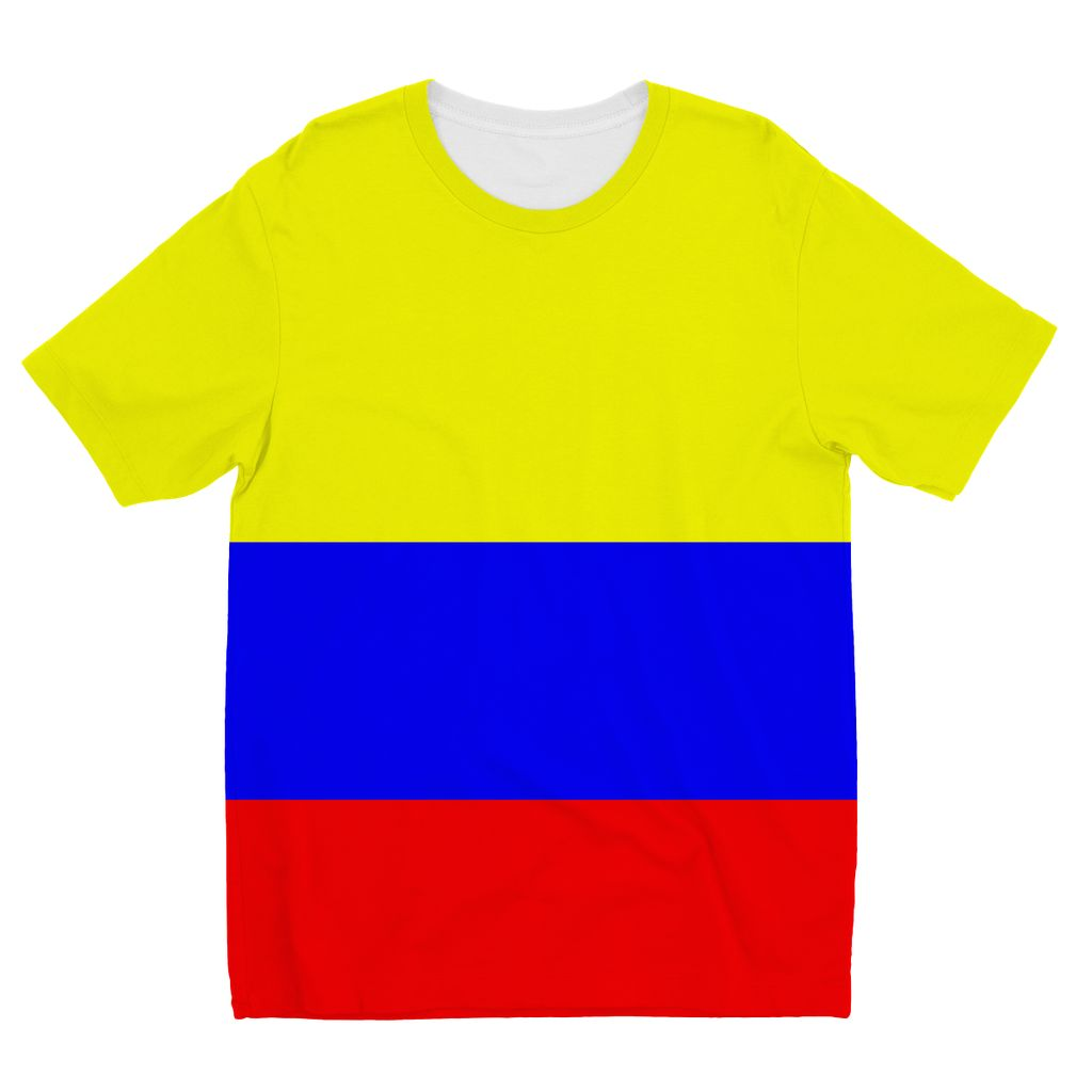 Flag Of Colombia Kids Sublimation T-Shirt Apparel Flagdesignproducts.com