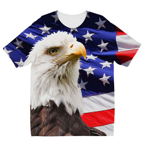 American Eagle And Usa Flag Kids Sublimation T-Shirt Apparel Flagdesignproducts.com