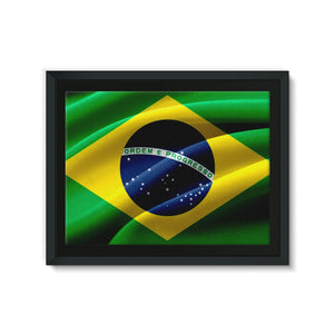 Waving Fabric Brazil Flag Framed Eco-Canvas Wall Decor Flagdesignproducts.com