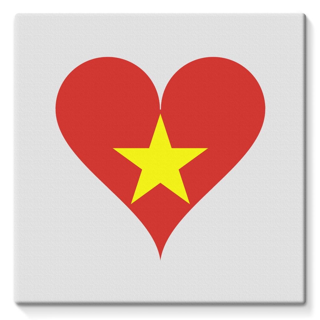 Vietnam Heart Flag Stretched Canvas Wall Decor Flagdesignproducts.com