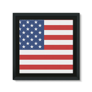 Basic America Flag Framed Eco-Canvas Wall Decor Flagdesignproducts.com