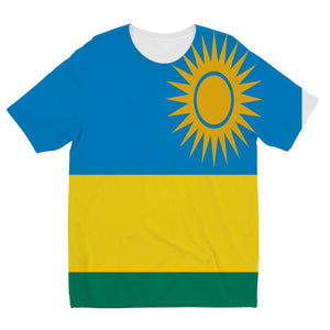 Flag Of Rwanda Kids Sublimation T-Shirt Apparel Flagdesignproducts.com