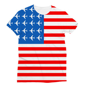Usa Airplane Flag Sublimation T-Shirt Apparel Flagdesignproducts.com