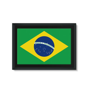 Basic Brazil Flag Framed Eco-Canvas Wall Decor Flagdesignproducts.com