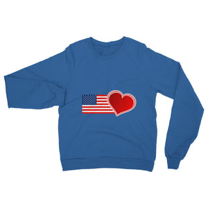 Usa Flag And Heart Heavy Blend Crew Neck Sweatshirt Apparel Flagdesignproducts.com