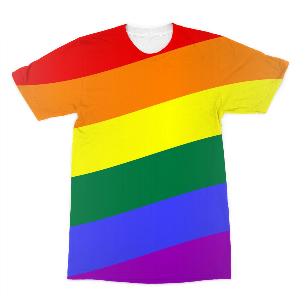 Waving Rainbow Flag Sublimation T-Shirt Apparel Flagdesignproducts.com