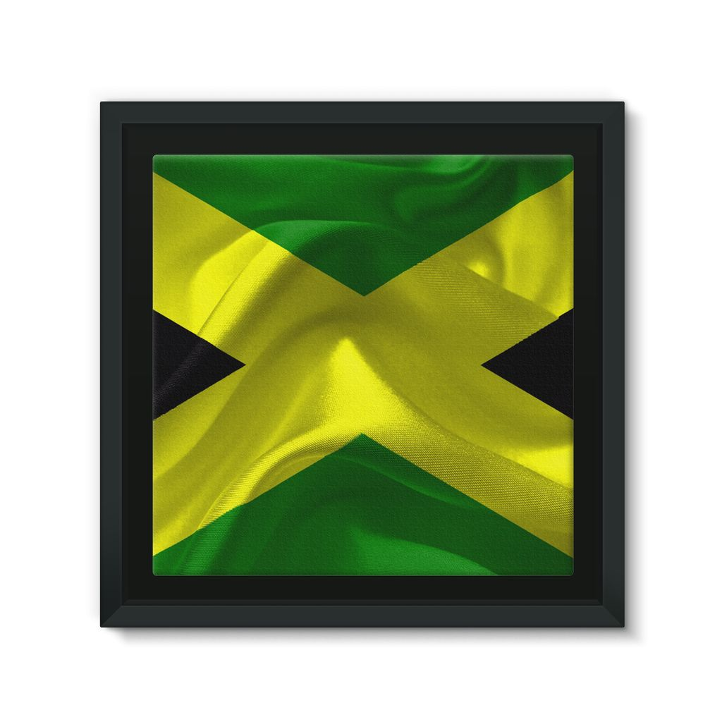 Waving Jamaica Flag Framed Canvas Wall Decor Flagdesignproducts.com