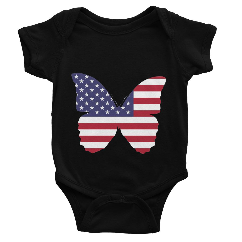 Usa Flag Butterfly Baby Bodysuit Apparel Flagdesignproducts.com