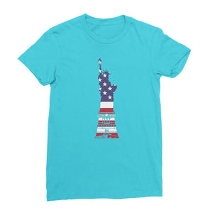 Usa Flag State Of Liberty Womens Fine Jersey T-Shirt Apparel Flagdesignproducts.com