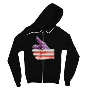 Usa Hand And Finger Flag Fine Jersey Zip Hoodie Apparel Flagdesignproducts.com