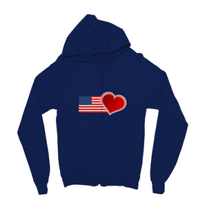 Usa Flag And Heart Kids Zip Hoodie Apparel Flagdesignproducts.com