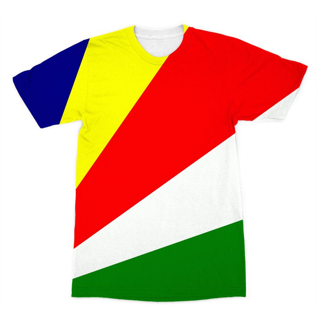 Flag Of Seychelles Sublimation T-Shirt Apparel Flagdesignproducts.com