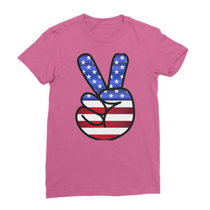 America Fingers Flag Womens Fine Jersey T-Shirt Apparel Flagdesignproducts.com