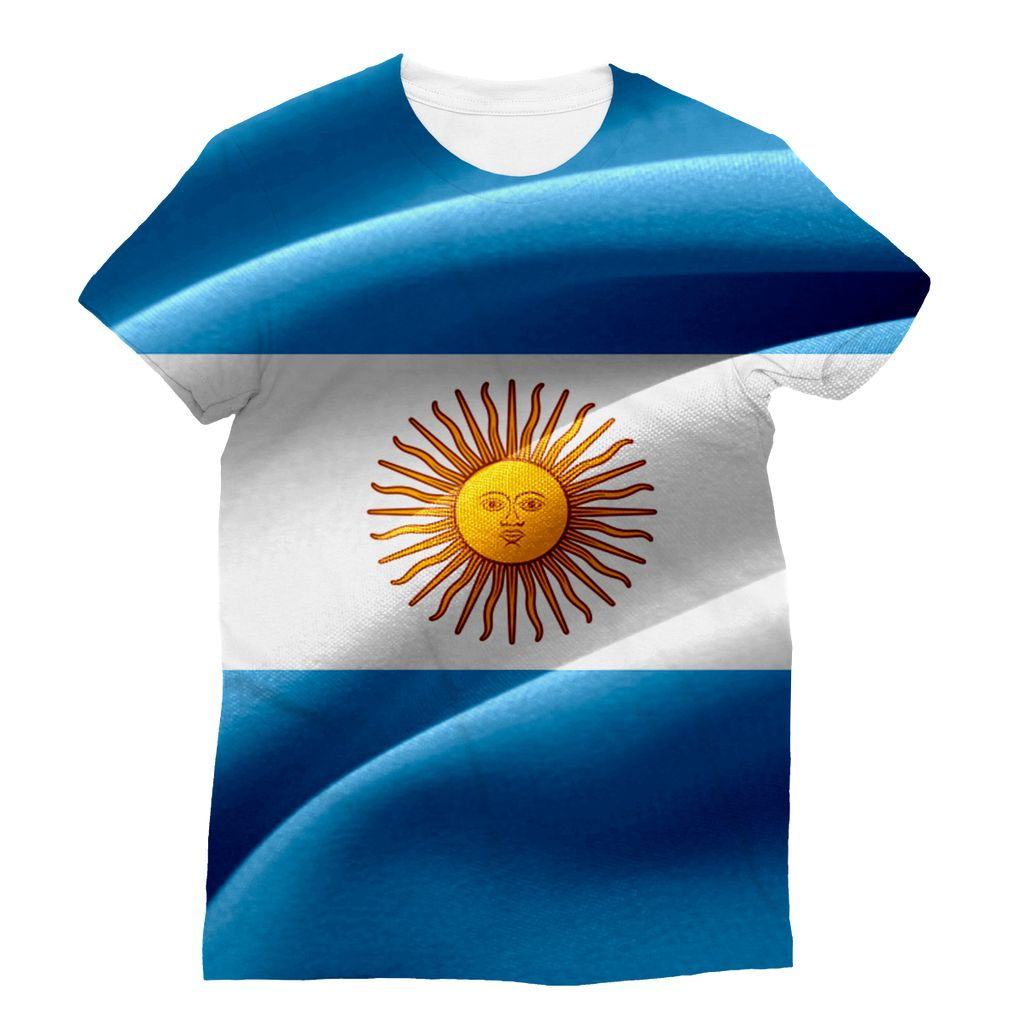 Waving Fabric Argentina Flag Sublimation T-Shirt Apparel Flagdesignproducts.com