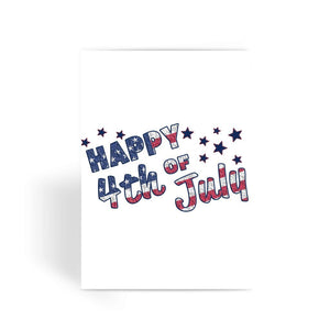 4Th July Usa Text Flag Greeting Card Prints Flagdesignproducts.com