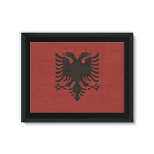 Albania Stone Wall Flag Framed Canvas Decor Flagdesignproducts.com