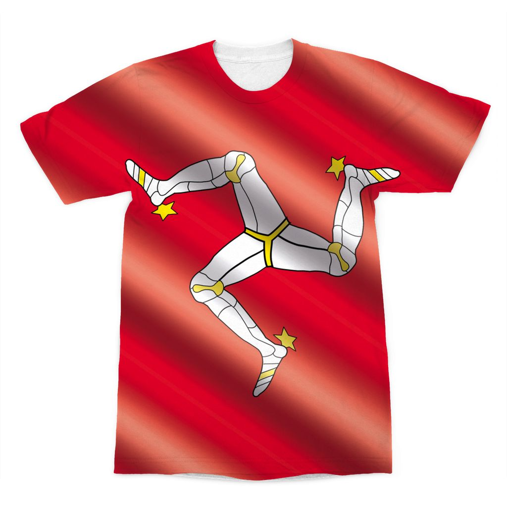 Waving Isle Of Man Flag Sublimation T-Shirt Apparel Flagdesignproducts.com