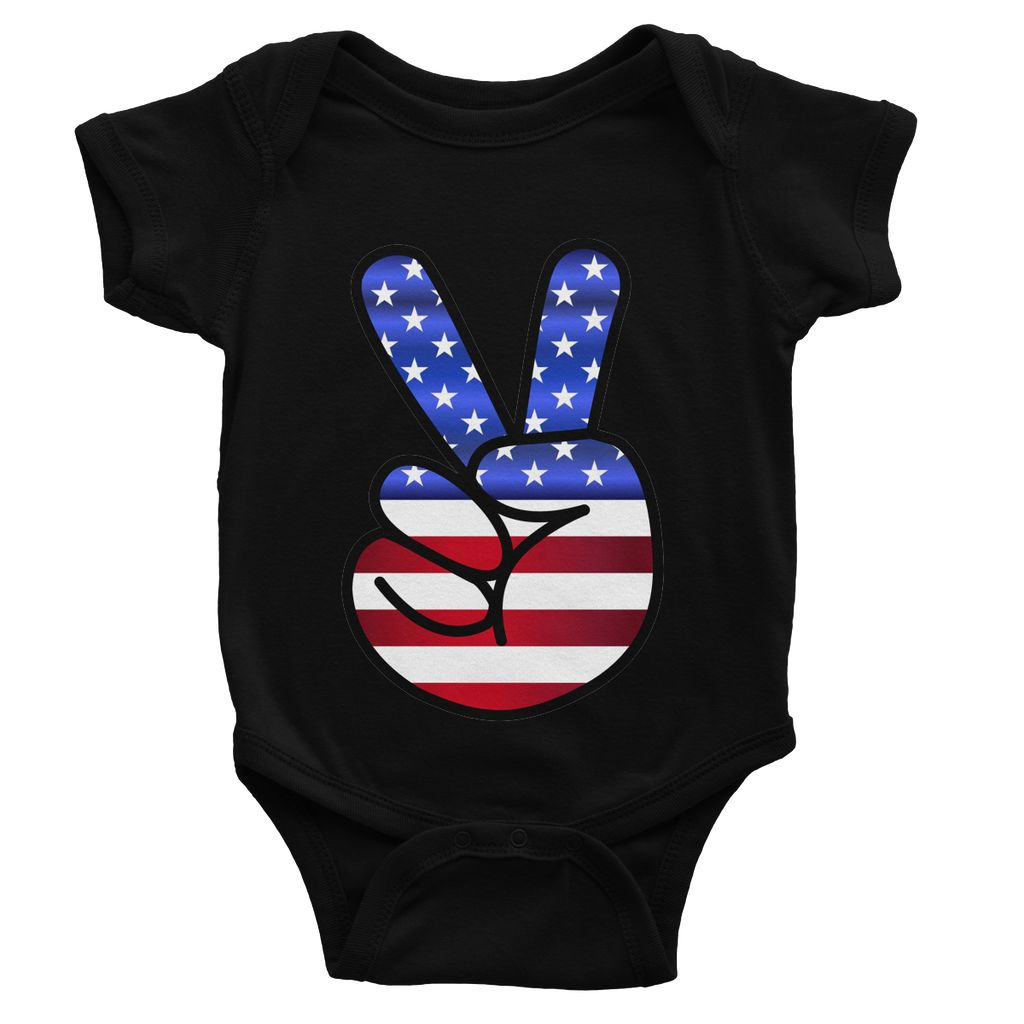 America Fingers Flag Baby Bodysuit Apparel Flagdesignproducts.com