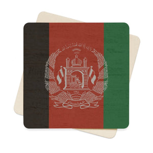 Afganistan Stone Wall Flag Square Paper Coaster Set - 6Pcs Home Decor Flagdesignproducts.com
