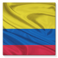 Waving Colombia Fabric Flag Stretched Canvas Wall Decor Flagdesignproducts.com