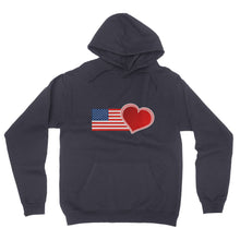 USA Flag and Heart California Fleece Pullover Hoodie