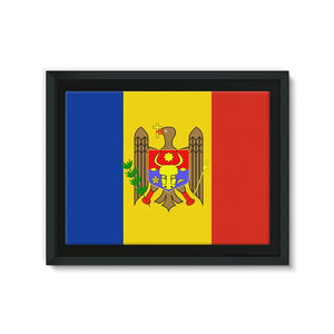 National Flag Of Moldova Framed Canvas Wall Decor Flagdesignproducts.com