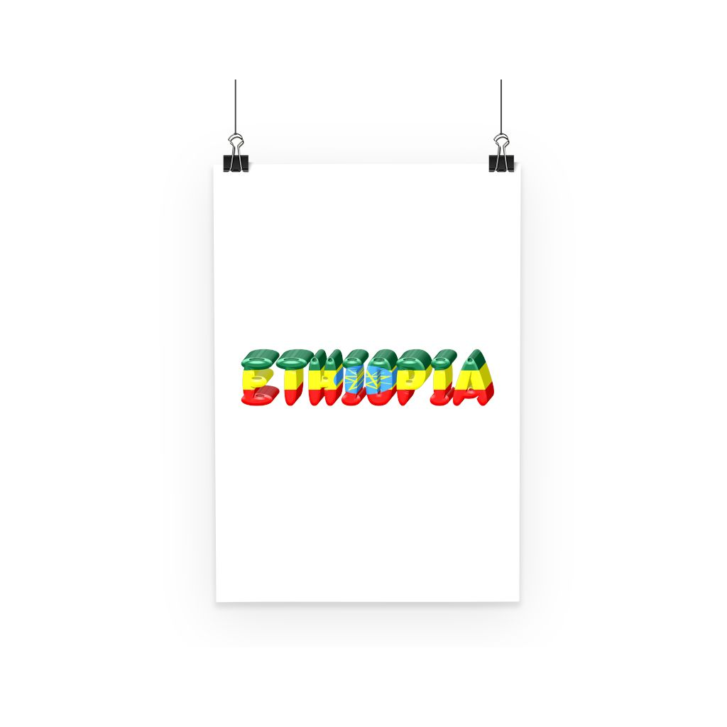 Ethiopia Text Flag Poster Wall Decor Flagdesignproducts.com