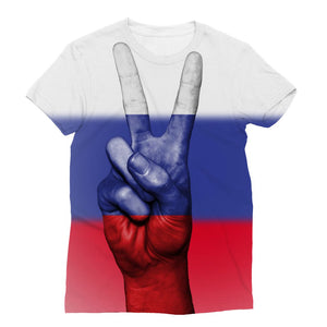 Russia Fingers Flag Sublimation T-Shirt Apparel Flagdesignproducts.com