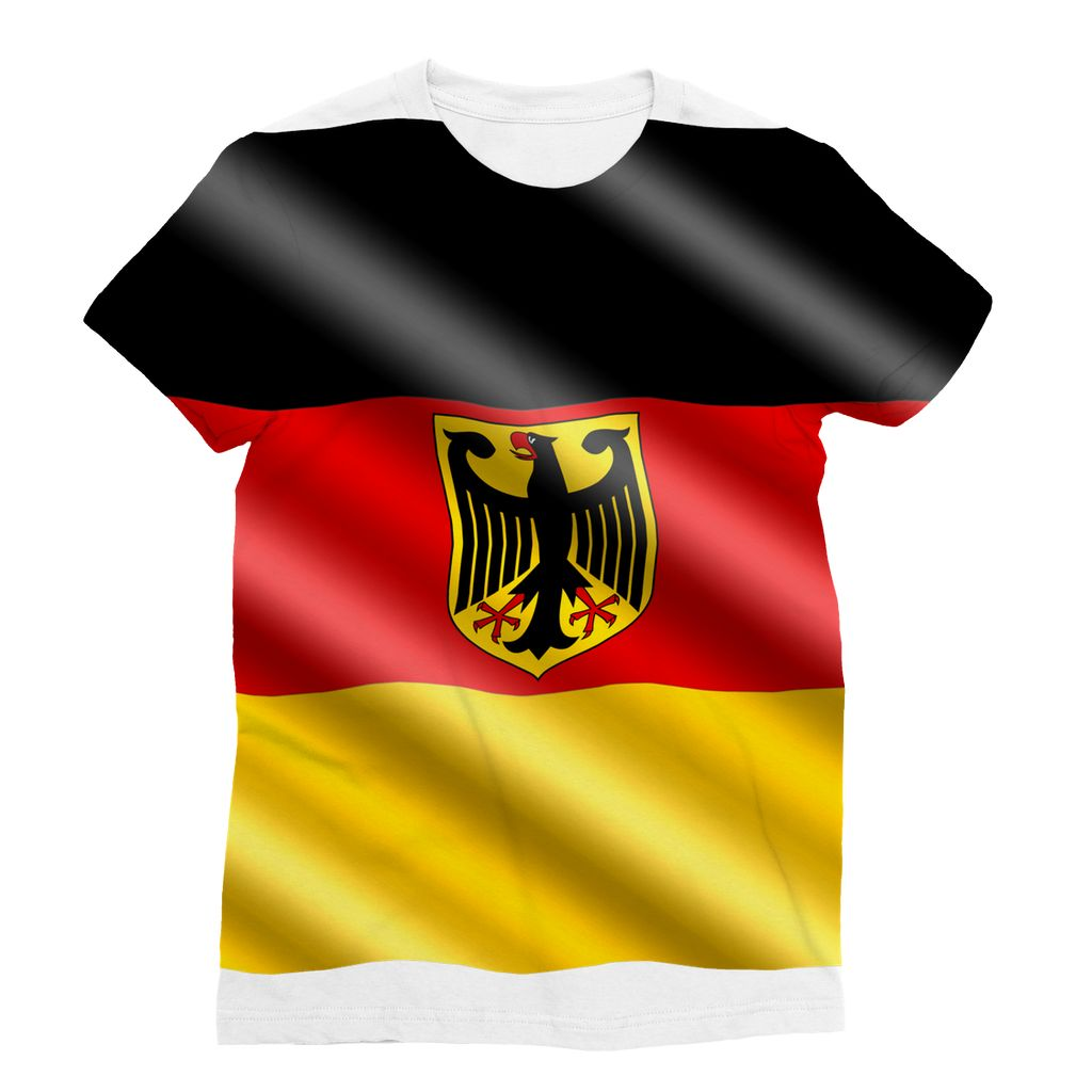 Waving Germany Flag Sublimation T-Shirt Apparel Flagdesignproducts.com