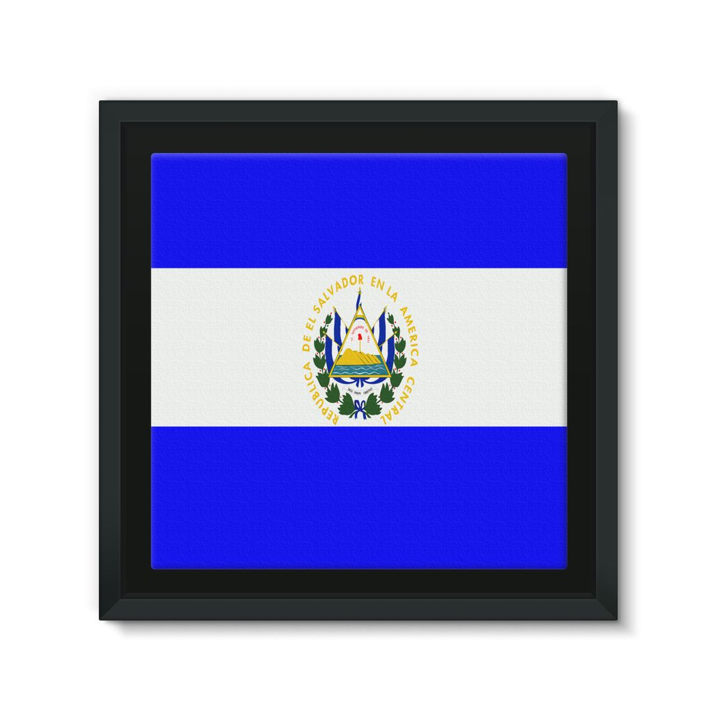 Flag Of El Salvador Framed Eco-Canvas Wall Decor Flagdesignproducts.com