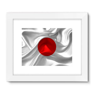Waving Fabric Japan Flag Framed Fine Art Print Wall Decor Flagdesignproducts.com