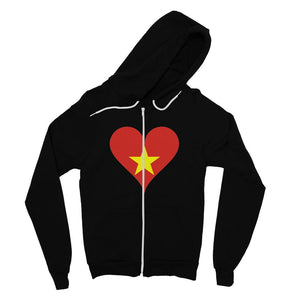 Vietnam Heart Flag Fine Jersey Zip Hoodie Apparel Flagdesignproducts.com