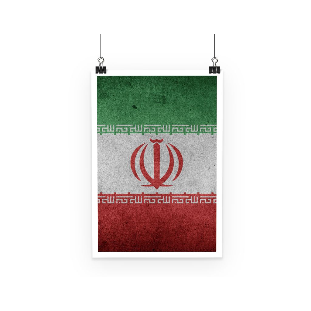 Grunge Iran Flag Poster Wall Decor Flagdesignproducts.com