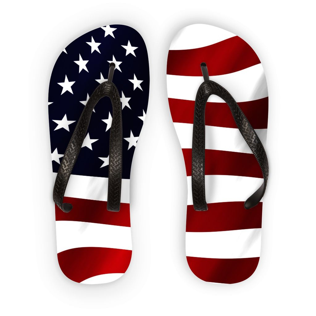 Waving Usa America Flag Flip Flops Accessories Flagdesignproducts.com