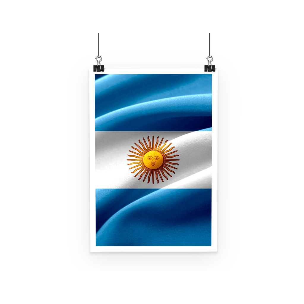 Waving Fabric Argentina Flag Poster Wall Decor Flagdesignproducts.com
