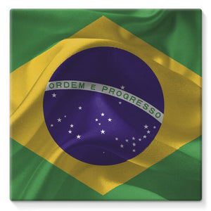 Brazil Waving Fabric Flag Stretched Canvas Wall Decor Flagdesignproducts.com