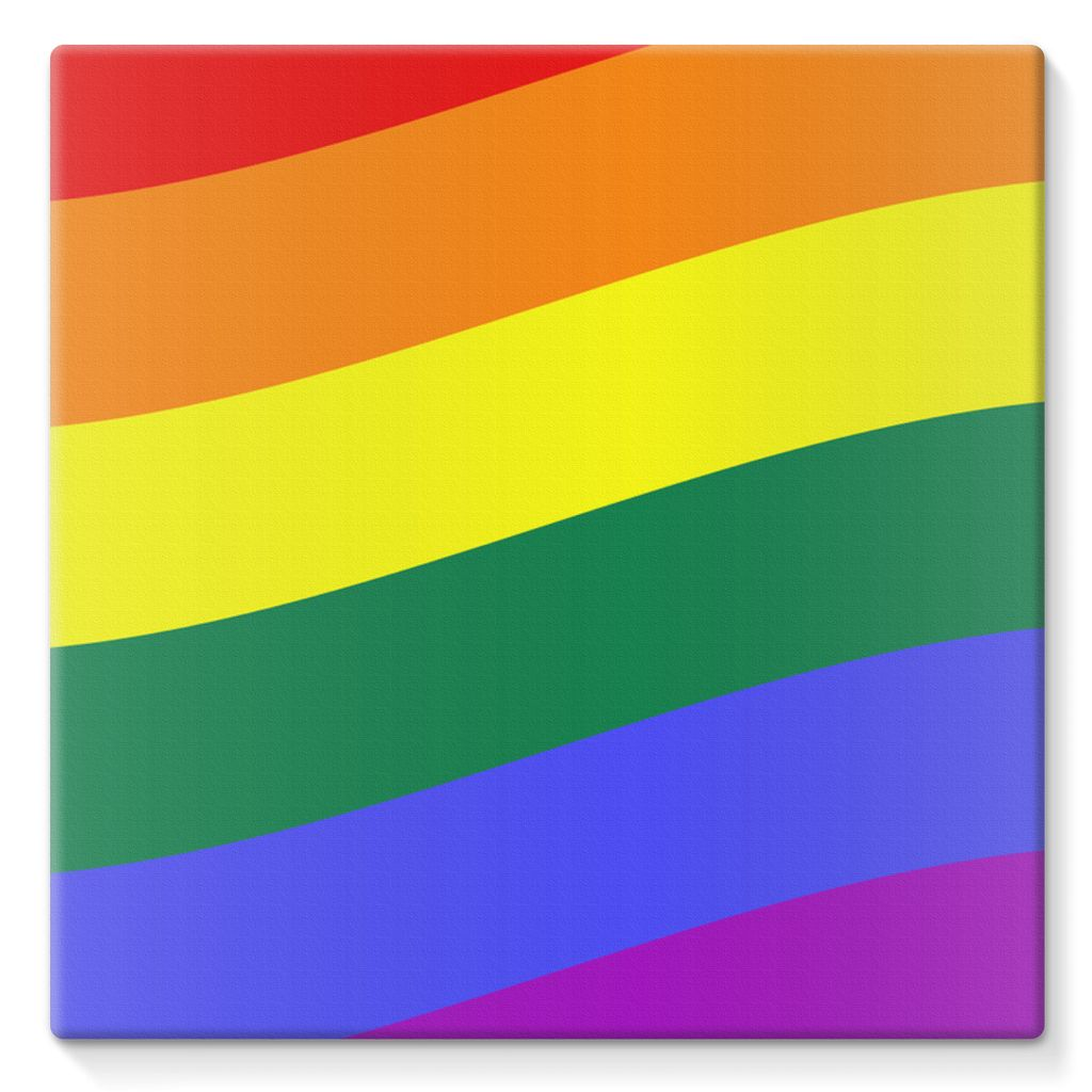 Waving Rainbow Flag Stretched Canvas Wall Decor Flagdesignproducts.com