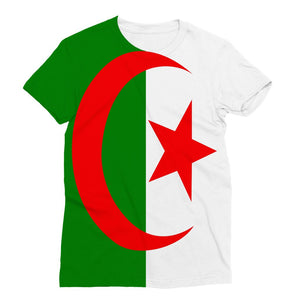 Flag Of Algeria Sublimation T-Shirt Apparel Flagdesignproducts.com